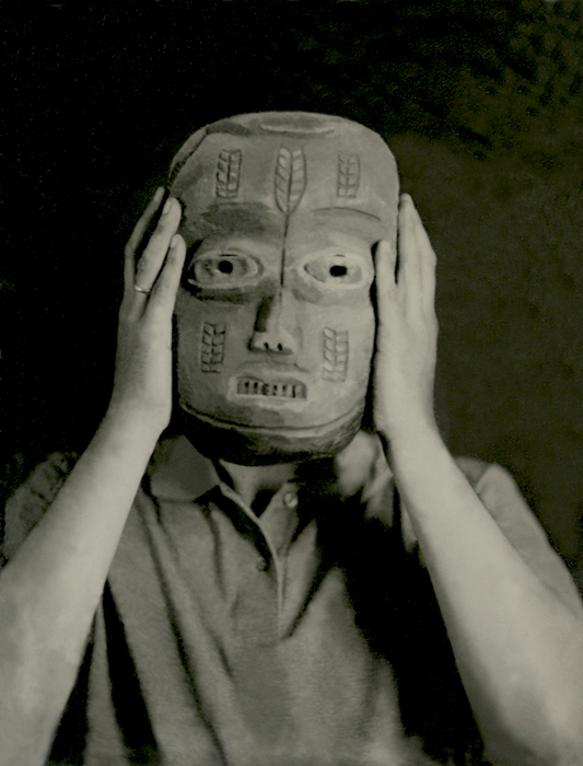 Tintype of Man Holding African Mask
