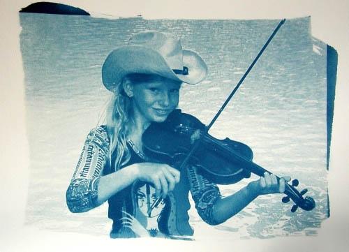 Cyanotype Zoe river fiddle