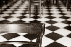 Gum over platinum palladium checkered floor