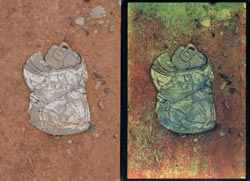 APIS can 2008; left side, original, right side tricolor gum bichromate