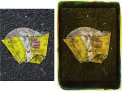 Wendy' s 2008; left side, original, right side tricolor gum bichromate.