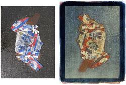 Pabst 2008; left side, original, right side tricolor gum bichromate.