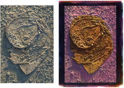 Can 2008; left, original image; right side, tricolor gum bichromate.