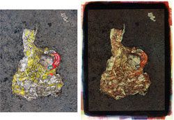 Sausage and Cheese Biscuit 2008; left side, original, right side tricolor gum bichromate.