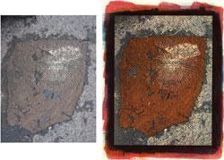 Steakhouse 2008; left side, original, right side tricolor gum bichromate.