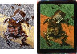 Beer Bottle 2008; left, original image; right, tricolor gum bichromate.
