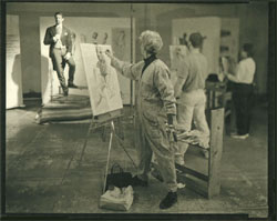 """From the series """"The Drawing Studio"""". Platinotype print."""