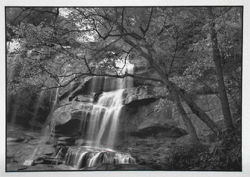 Whitewater Falls, North Carolina. 12X17 palladium toned Kallitype. Digital negative, from a 5X7 original. 2000. Near the North Carolina/South Carolina border.