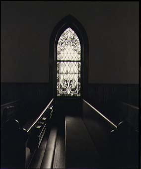 Pews and Stained Glass Window, Payette, Idaho, 3/19/97
