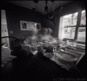 pinhole photographs of dinner with friends