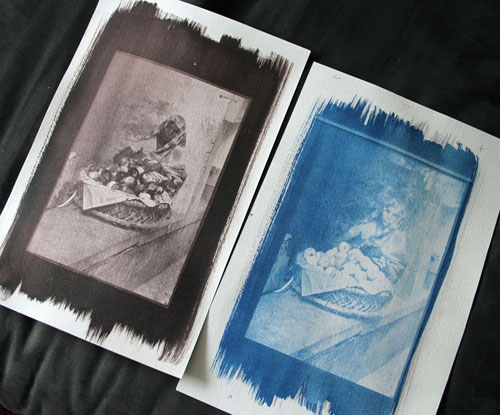 Brown and blue cyanotype