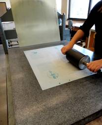 rolling a lith print