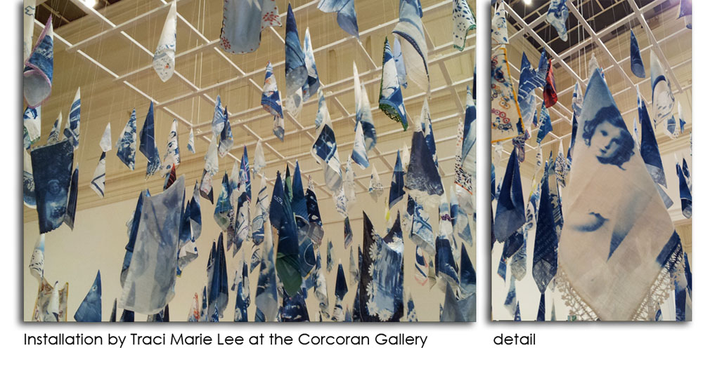 Installation of cyanotypes by Traci Marie Lee at the Corcoran Gallery