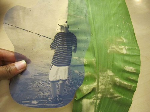Example with a negative. Tiffany Pereira – Boy at the River. Chlorophyll Print in progress, 2010