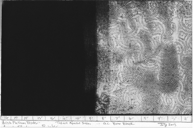 10 minutes is the shortest exposure that achieves 100% black in this print. But, there is more to it than just reaching 100% black. The minimum exposure time is the base exposure time, but it is not the optimum exposure time. Looking at the plate, which still has ink in it (image 5-44), indicates that the 10 minute strip has a rough aquatint pattern. Longer exposure times still print 100% black, but the plate shows a finer aquatint pattern. A finer aquatint pattern will yield better tonal range in later steps.
