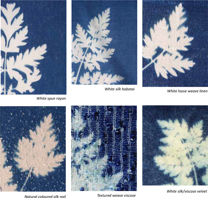 cyanotypes on different fabrics