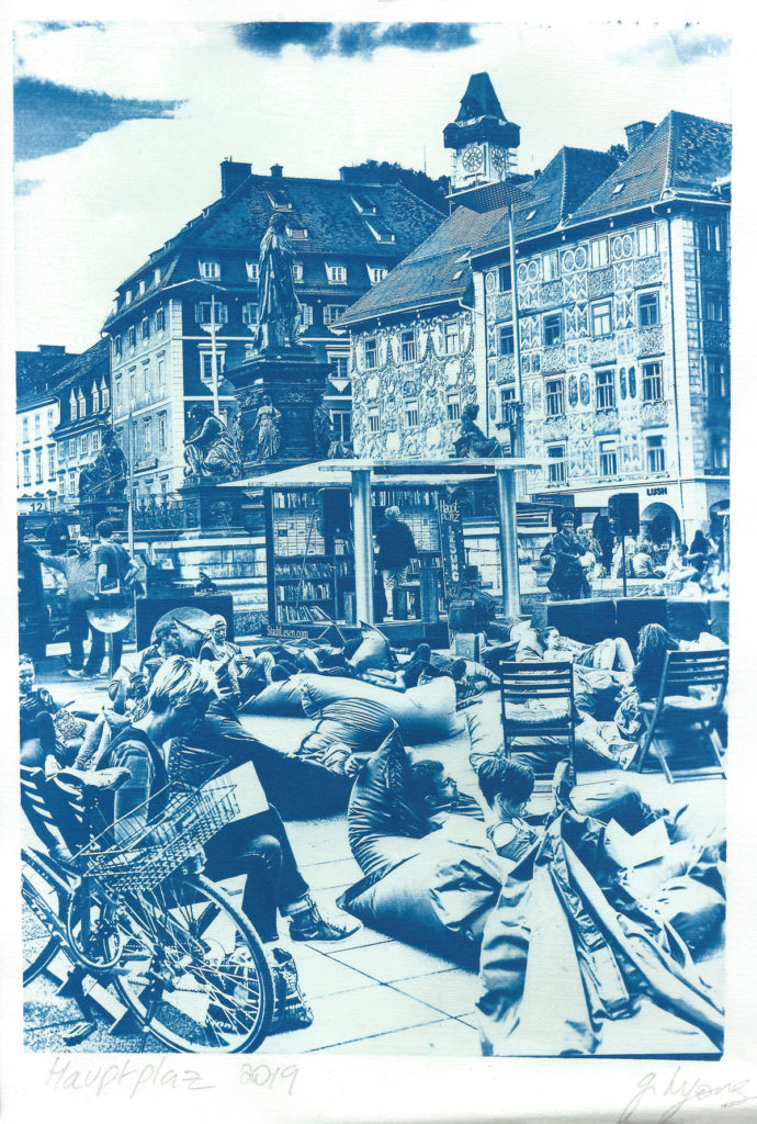 Book day Hauptplaz, Graz. Cyanotype by Gavin Lyons