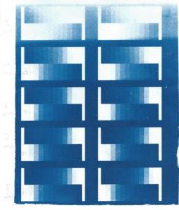 Cyanotype test strip, testing the light box
