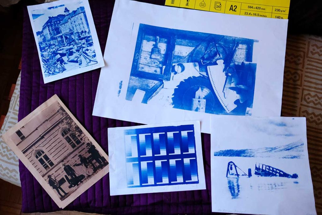 Selection of prints A4, A2, Tea Toned, Square Size cyanotypes, etc.