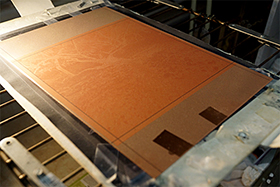 A rosin aquatint on gelatin developed on copperplate at the end of the process
