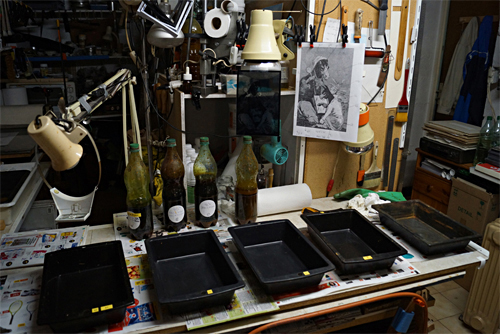 Darkroom setup for etching copperplate photogravures