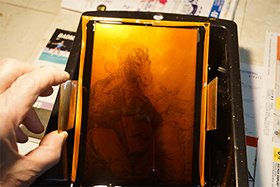 Steps in etching a copperplate