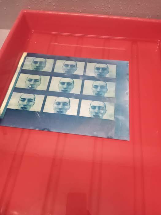 Movie made using cyanotypes - washing the print